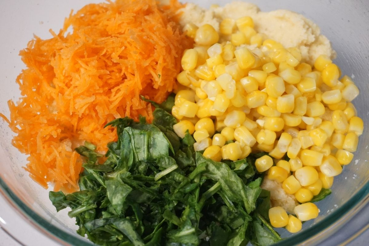 carrots spinach sweet corn