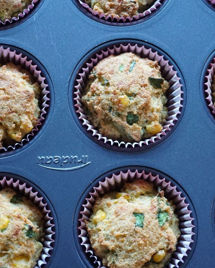 semolina muffins with vegetables in tray