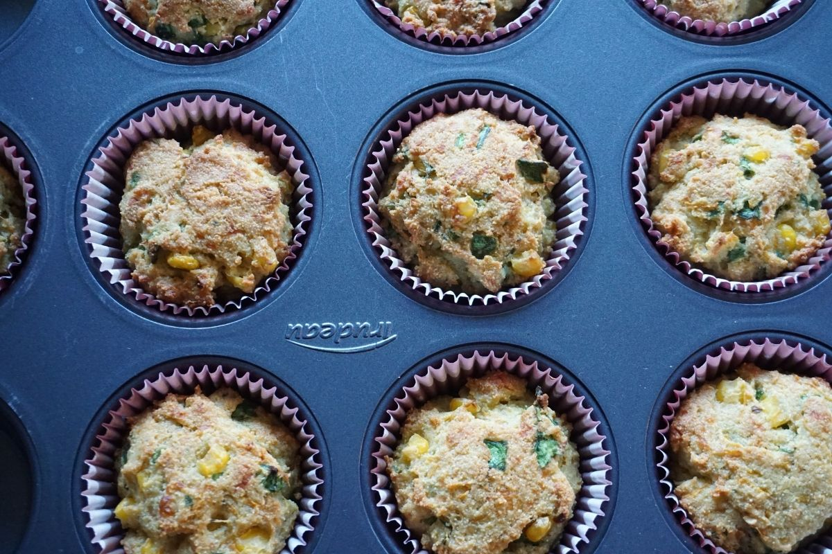 semolina vegetable muffins in muffin tray