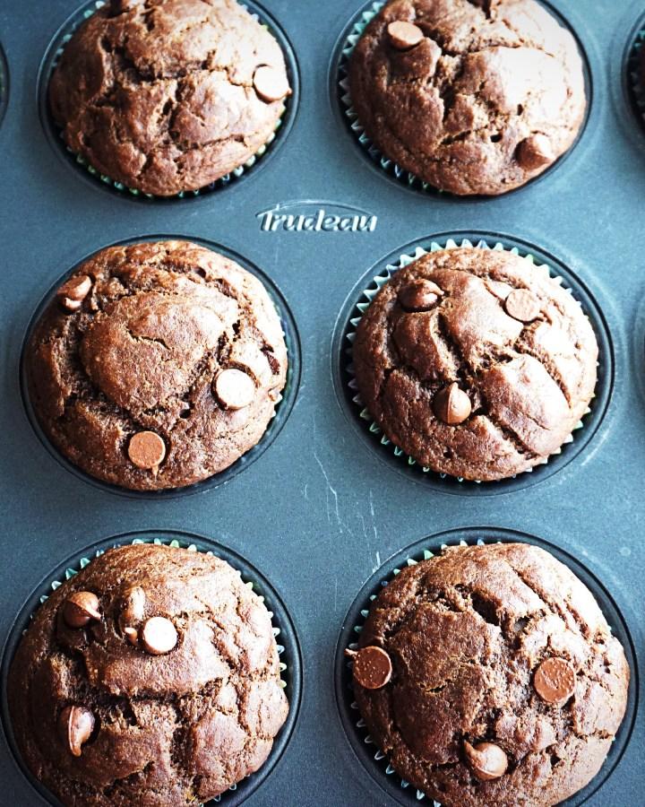 ragi whole wheat chocolate banana muffins