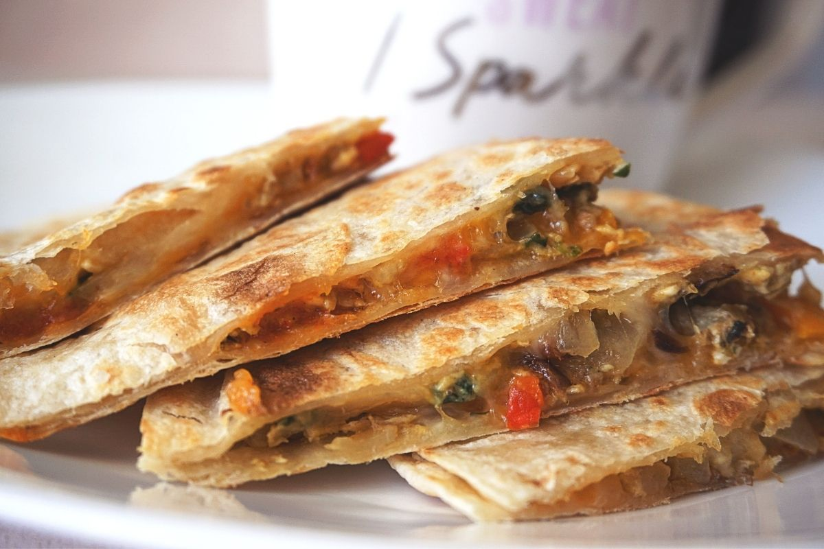 Scrambled Egg Indian Quesadillas on a plate.