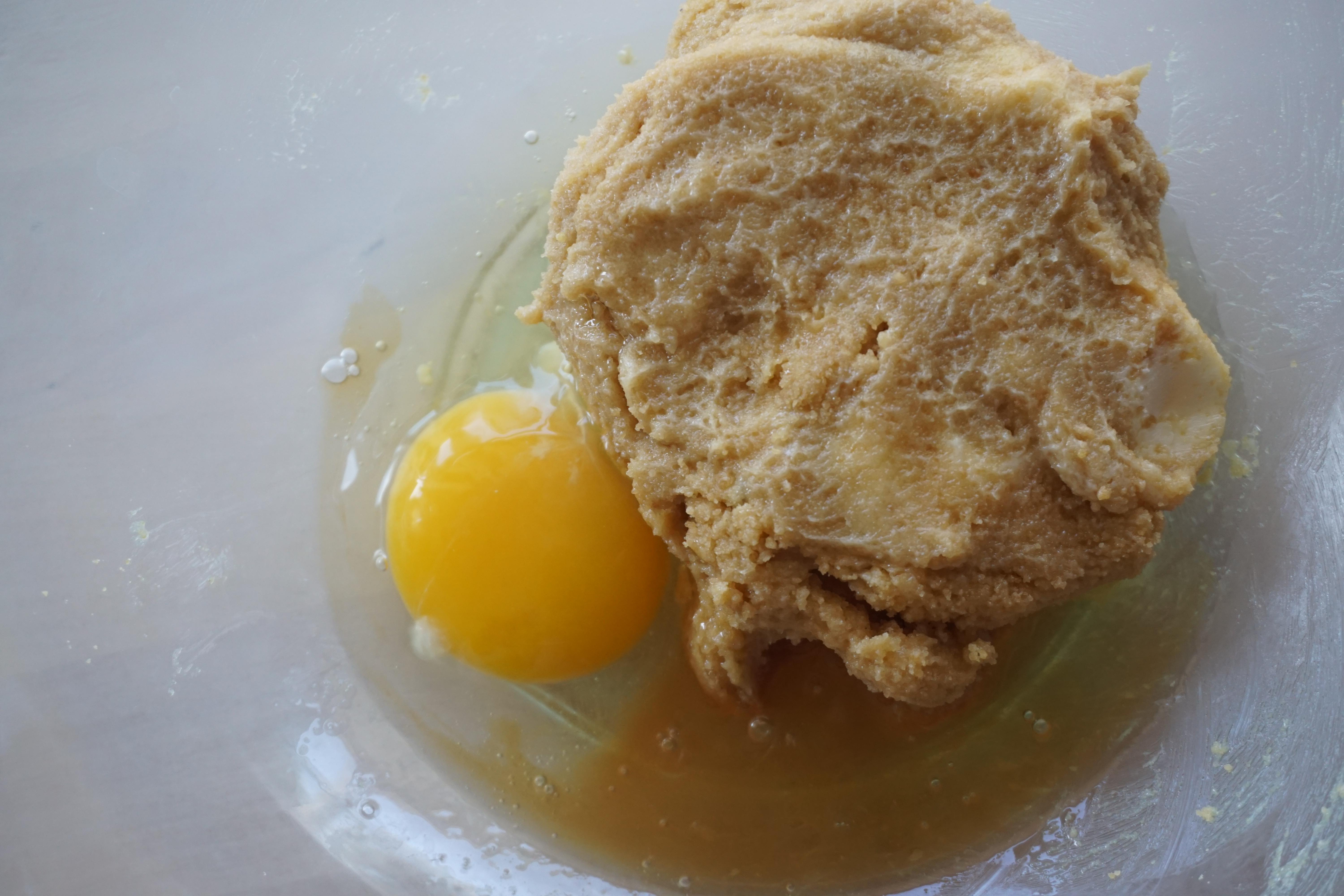 cookie batter with egg and vanilla