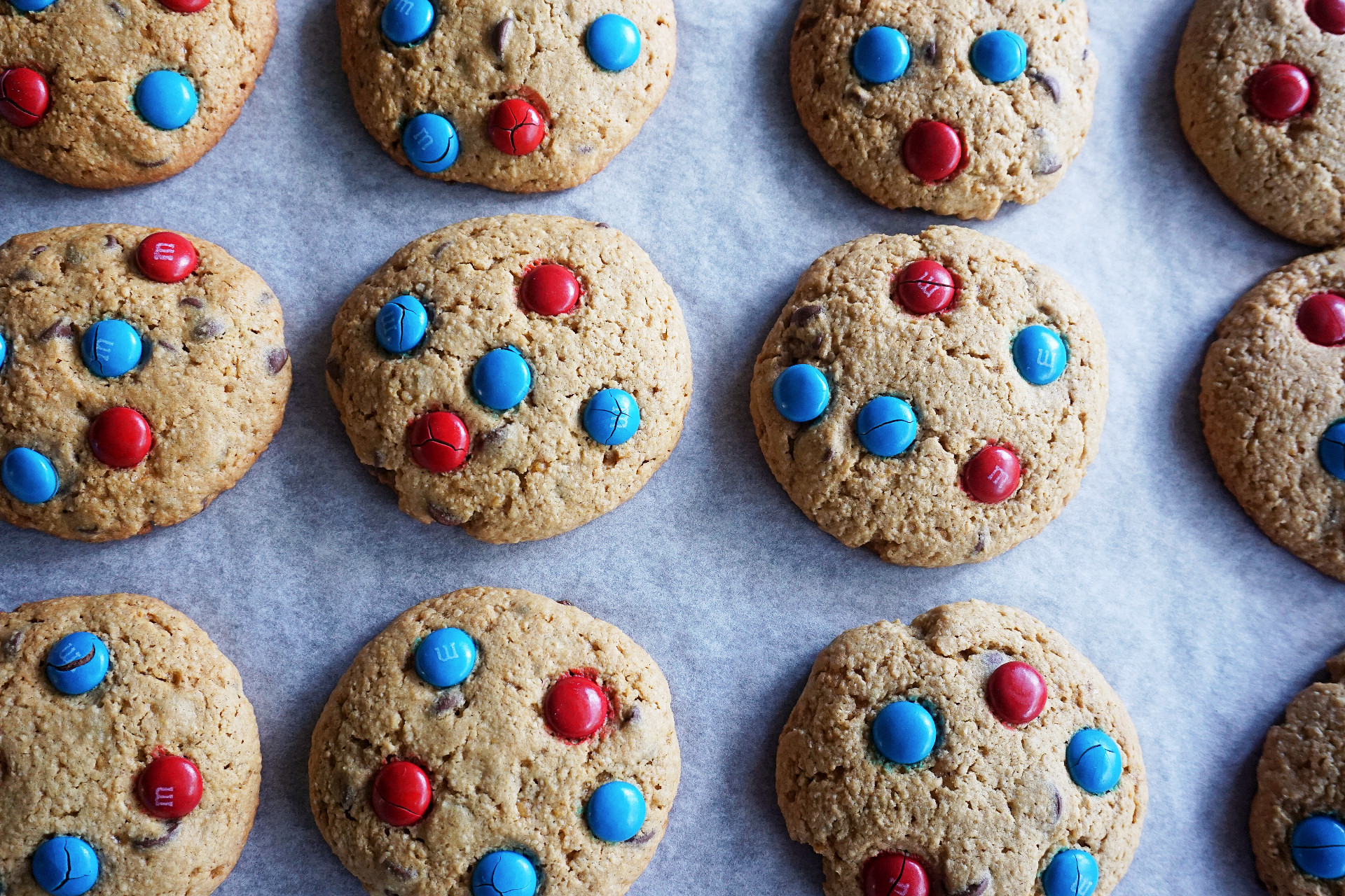 baked M&M cookies on parchment paper
