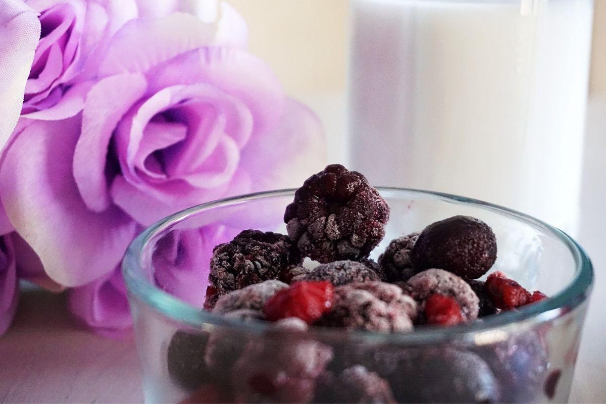 frozen berries in a cup