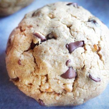 Healthier DoubleTree Cookie on parchment paper
