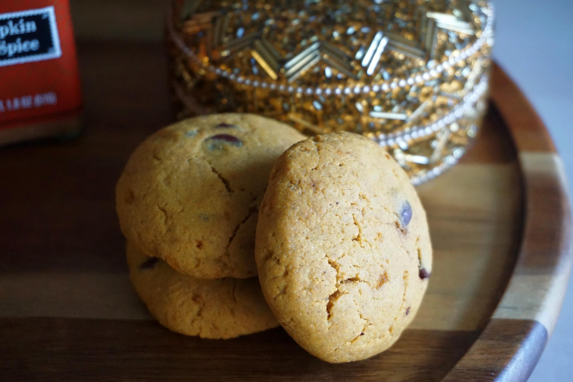 pumpkin cookies on tray