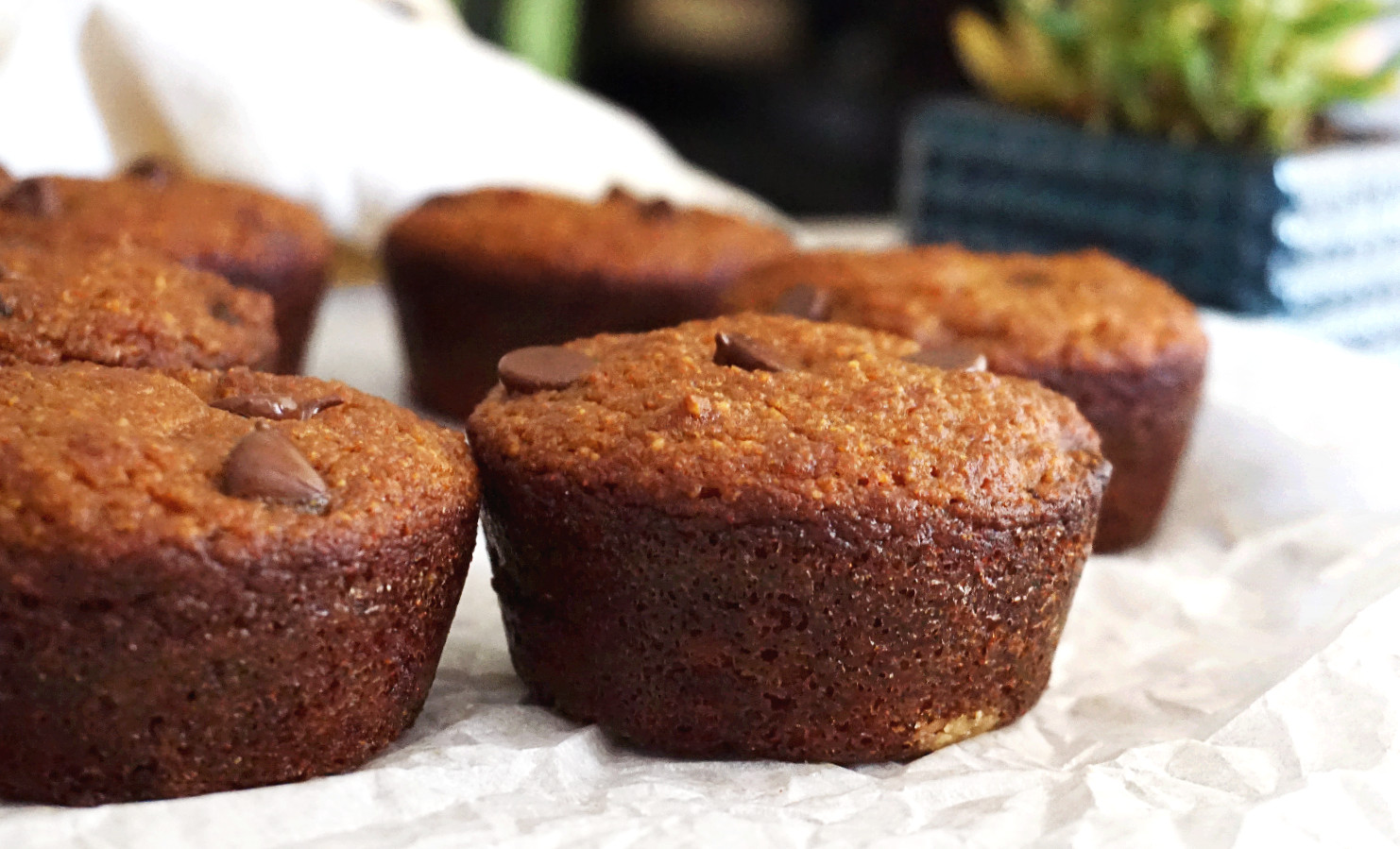 muffins on parchment paper