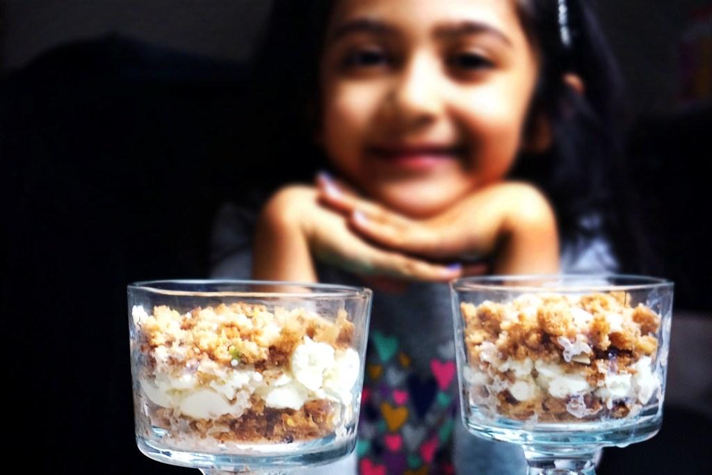 rasmalai trifle bowls with smiling kid