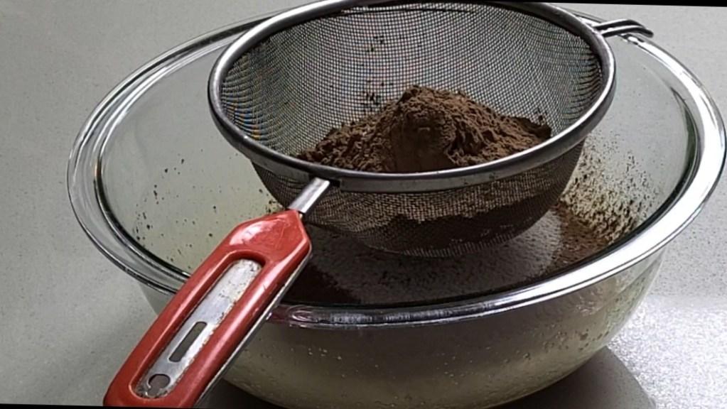 dry ingredients in a sieve