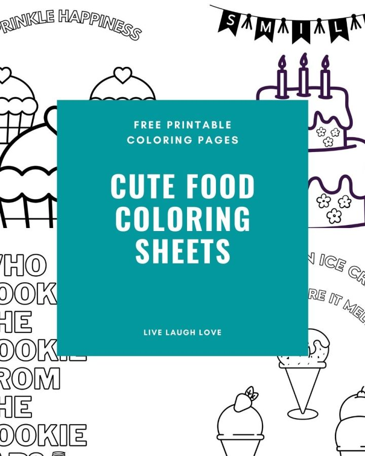 cute food coloring sheets page
