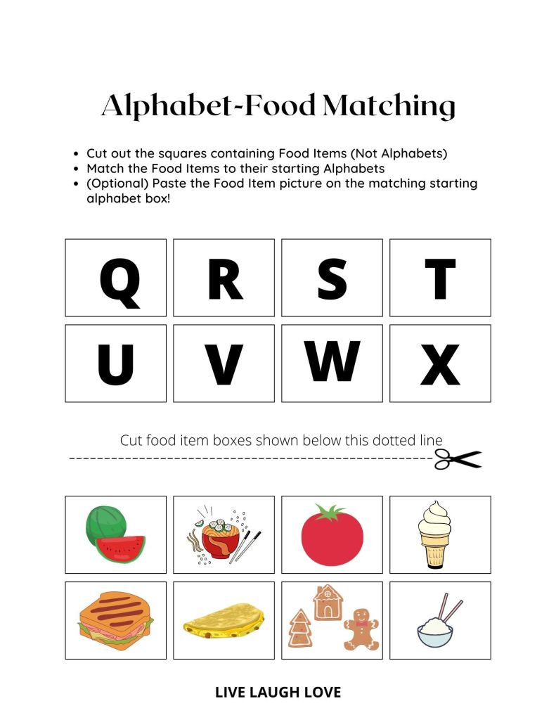 alphabet worksheet Q-X