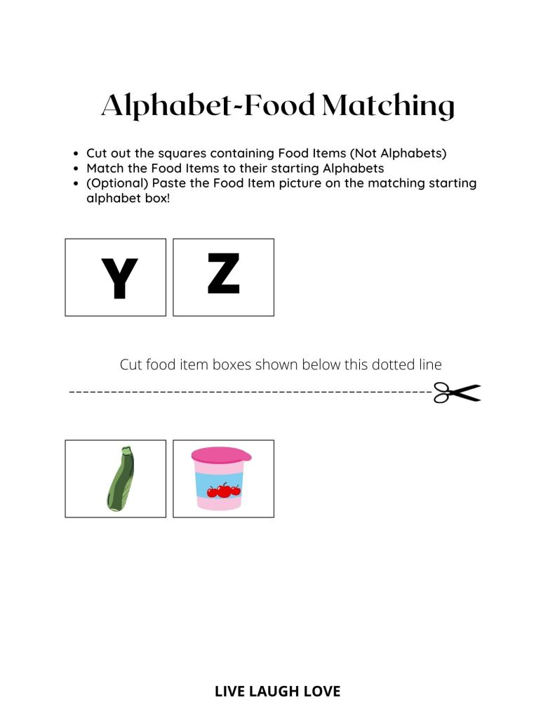 alphabet worksheet Y-Z