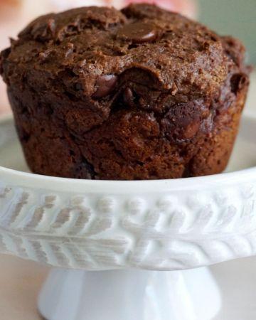 Muffin on a dessert stand